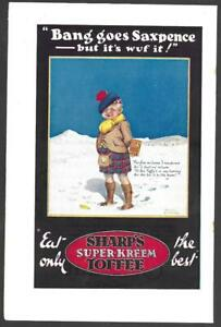 """ORIGINAL MAGAZINE AD FOR SHARP'S TOFFEE - """"BANG GOES SAXPENCE"""" - SCOTSMAN -1930s"""