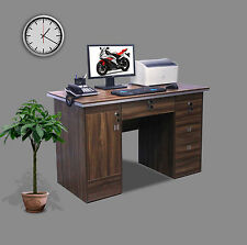 Computer Desk PC Table Home Office Furniture Workstation With Locks in Walnut