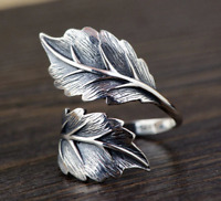925 STERLING SILVER REALISTIC CARVED CLIMBING WRAP LEAF FLORAL FLOWER VINE RING