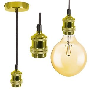 Gold Vintage Hanging Braided Pendant Holder + E27 LED 125mm Filament Globe