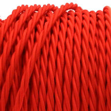 RED TWIST vintage style textile fabric electrical cord cloth cool cable 1m.