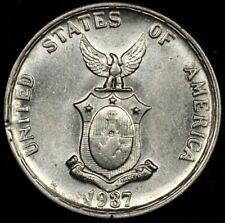 FOREIGN AUCTION NIGHT! NICE BU 1937-M PHILIPPINES SILVER 20 CENTAVOS. KM #182