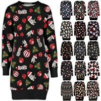 Christmas Ladies Tunic Dress Long Sweatshirt Womens Elf Santa Fleece Xmas Jumper