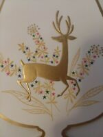 1950-60s Vtg Gold REINDEER in WASSAIL Bowl CHRISTMAS GREETING CARD