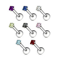 16G Labret Monroe Stud SQUARE CZ Prong Set Surgical Steel Internally Threaded