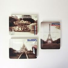 New listing Set of 3 Restoration Hardware Plates Trinket Dish Paris France Postcards Eiffel