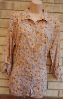 PEACOCKS GREY PINK VINTAGE FLORAL BUTTONED LONG SLEEVE T SHIRT BLOUSE TOP 16 XL