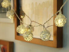 "10-LED 47"" Battery Operated Wedding Metal Balls String Lamp Fairy Lights"