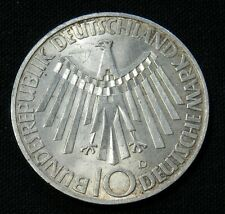 GERMANY, UNCIR SILVER 10 MARK 1972 COIN ISSUED FOR MUNICH OLYMPICS WORLD FOREIGN