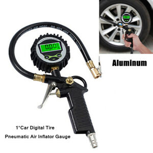 220PSI Car Aluminum Lock On Tire Inflator Air Pressure Gauge Pistol Chuck Hose