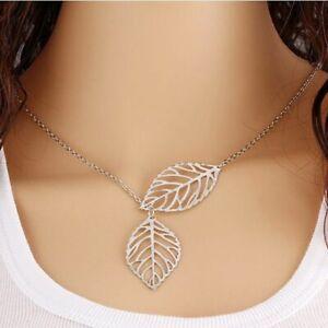 Women's Chain Necklace Fashion 2 Leaf Pendant Choker Silver female jewelry 2021
