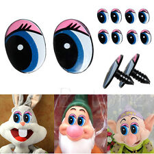 Hot 5 Pairs(10pcs) Oval Blue Safety Plastic Eyes Toy Puppets Dolls Eyes 24 X18mm