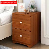 Bedside End Table Nightstand Storage Cabinet Locker Bedroom Side Double Drawer
