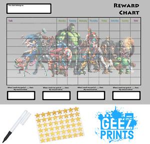 Avengers Reward Behaviour Chart Free Pen & Stickers, Free P&P!