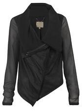 Muubaa Maldini Black Lined Drape Leather Cardigan. RRP £275. M0341. UK 10.