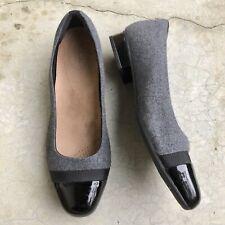 Clarks Artisan Women's Cap Toe Flats Low Heel Shoes Gray Black Slip On 12 W Wide