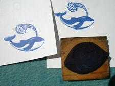 Happy Whale Swimming Spouting Water ~ Antique Ink Stamp ~ Cut Rubber On Wood NR