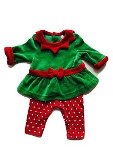 CHEROKEE Girl 3-6 Months  Red Green Ribbon Velvet Elf Christmas Costume Outfit