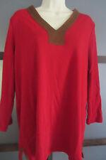 LAUREN Ralph Lauren Tunic Top Shirt 1X XL 16 18 Red Cotton