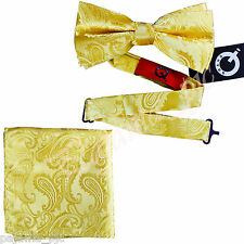 New Men Gold Paisley Pre-tied Bow tie and Pocket Square Hanky Set Formal Party