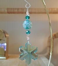 =^..^= Ant Green Snowflake Ornament made with 35mm Swarovski Crystal 8811 LOGO F