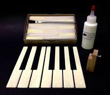 "Piano Keytops Set/52 Satin Medium Simulated Ivory Long Head 2"" w/ Tool & Glue"
