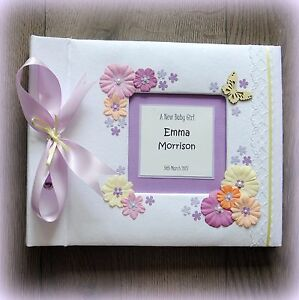 Luxury Personalised BABY GIRL Birthday Photo Album/ Hand Made Boxed/ great gift!