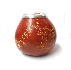 "Tan ""Tango Dancing"" Gourd.Traditional Yerba Mate drinking cup"
