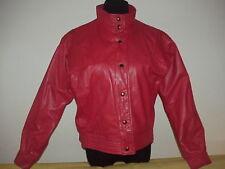 Vtg 80s Red Leather Jacket Michael Jackson Motorcycle Biker Punk Glam Rock 8 M