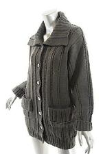 MARION FOALE Grayish Olive 100% Wool Cardigan Sweater w/High Neck - COZY - O/S