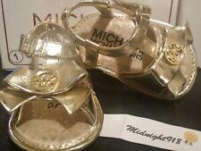 MICHAEL KORS BABY JOY KIA GIRL INFANT CRIB GOLD SANDAL SZ 1 (6 WKS-3M)
