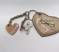 Fabulous Guess Logo Loveheart Keyring Chain  Fob With 2 Charms