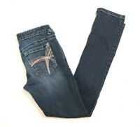 Rue 21 Womens Jrs Size 1/2 R Blue Denim Distressed Stretch Skinny Low Rise Jeans