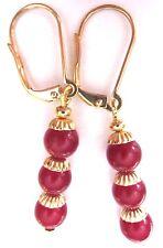 Triple Bauble Red Jade Drop Dangle Natural Earrings USA Kirsten Made Gold LVRBKS