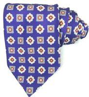 Brioni Mens Luxury Neck Tie Purple and Orange Geometric 100% Silk Made in Italy