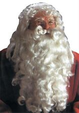 Santa Clause Very Full Wig And Beard Deluxe Quality Set Synthetic Fiber White
