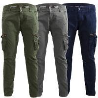 Pantaloni uomo cargo militari leggeri tasconi laterali casual cotone M-09