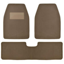 3pc Set Dark Beige Heavy Duty Carpet SUV Van Pickup Car Floor Mat Front Rear Rug