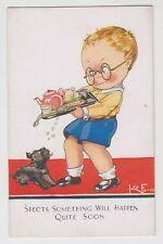 POSTCARD - artist signed Kit Forres, comic boy child tea tray glasses puppy dog