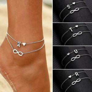 925 Silver 2 Layers A-Z Letter Initial Anklet Bracelet Charm Beach Women Jewlery
