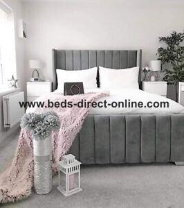 Modern Designer Panel Wing Bed Plush Velvet Etc Gas Lift Ottoman