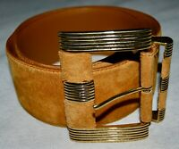 Caramel Brown Real Suede Leather Wide Waist Belt Womens Gold Metal Buckle M 32