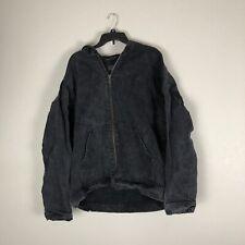 ASOS Black Denim Jacket Hooded Full Zipper Size XL