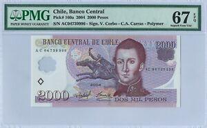Chile 2.000 Pesos P160a 2004 PMG 67 EPQ s/n AC04739996 Polymer