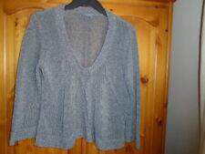 Gunmetal grey fairly heavy knit cardigan, ¾ sleeves, PER UNA, size 12