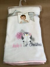 Baby's 1st Christmas Blankets & Beyond Soft Baby Blanket White Pink Penguin