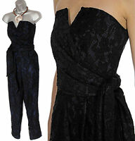 COAST KANDIS Strapless Black & Blue Lace Prom Cocktail Jumpsuit UK 14 EU 42 £135