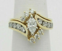 2.76Ct Marquise Cut Diamond Engagement Wedding Band Ring  14k Yellow Gold Over