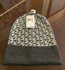 NWT Michael Kors MK Signature Logo Beanie Hat Dark Gray & Light Gray 537172C $42