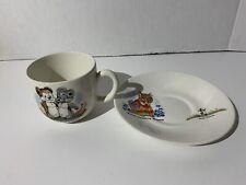 VTG BESWICK ENGLAND Ceramic Cup Saucer Teddy Cuddly Gulliver  Katie Charlie